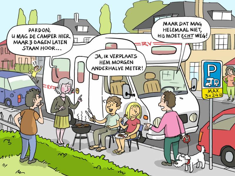 Campers in de weg